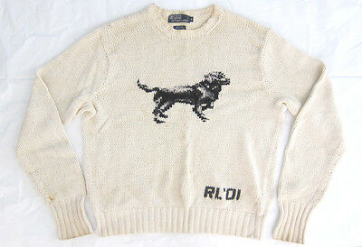 Vintage Polo Ralph Lauren RL '01 White Hand Knit Dog Sweater - Authentic