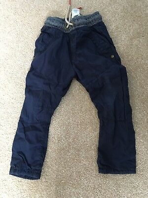 Boys Next blue lined Trousers 18-24 Months