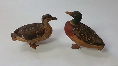 Pair of handcarved, hand painted wooden ducks, both signed, beautifully crafted!