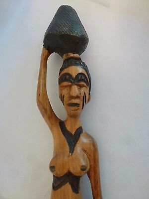 African Pregnant Woman Wood Carved Statue