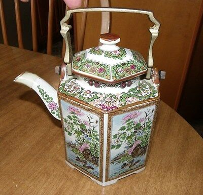 Antique Chinese Asian Imperial Garden Ceramic Teapot Brass Handle