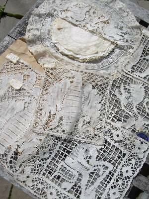 Collection 15 antique French handmade lace - doilies panels appliques