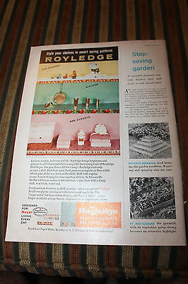 Vintage 1957 Royledge Shelf Lining Paper and Edging Ad Rare Royal Lace Works