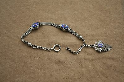 Antique French Victorian Solid Silver Albertina Enamel Slider Pocket Watch Chain