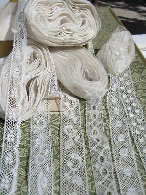 Box of narrow antique French Valenciennes lace - 6 different trims 42 yards