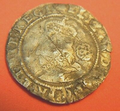 TUDOR PERIOD 1585 ELIZABETH 1ST SILVER SIXPENCE ROSE BESIDE MM ESCALLOP (ju6)