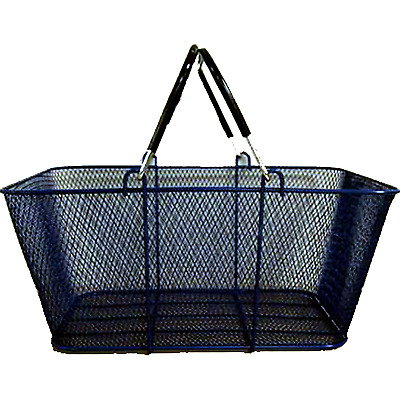 Perforated Blue Metal Shopping Basket for Stores