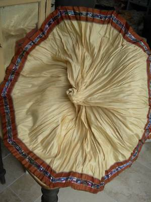 Collection 4 antique French silk & cotton parasol covers - unused 1900