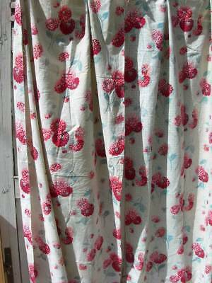 2 panels (curtains) antique vintage French 1920s printed cotton fabric - dahlias