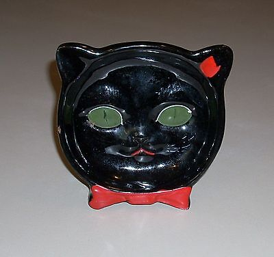 Vintage Shafford Black Cat Ashtray or Standing Figurine with Label