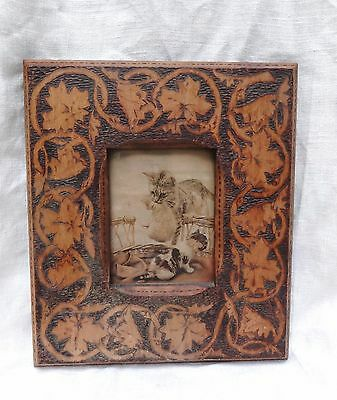 Antique Flemish Wood Burning Picture Frame With Mother Cat & Kitten Picture-1900
