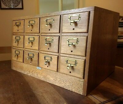 Beautiful old library draw unit oak draw fronts, Libraco London mid century?