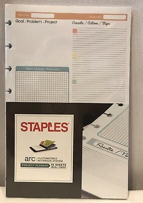 """Staples arc Project Planner 50 Sheets Graph 5.5"""" X8.5"""" Heavyweight Paper Sealed"""