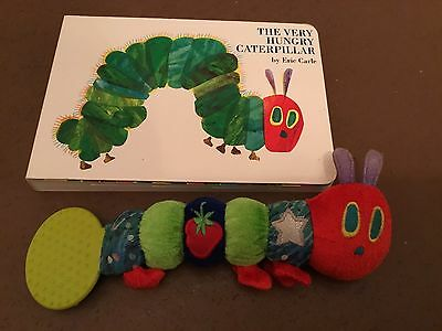 The Very Hungry Caterpillar Teether Rattle &   Colourful hardback book vgc