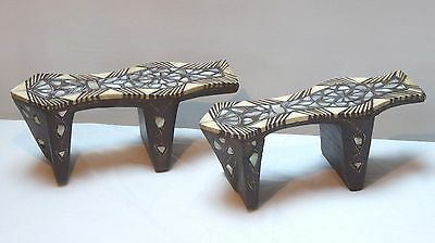 19th C. Turkish Ottoman Wooden kabkabs with Mother of Pearl and bone Inlay.
