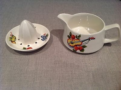 2 Vintage / Retro Lord Nelson Pottery items and jug and lemon squeezer