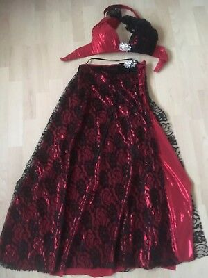 Professional Handmade Egyptian Belly Dance Costume Red and Black.