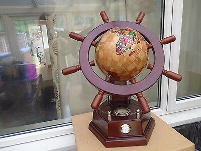 amazing rare maple wood ships wheel navigator globe with clock & compass   WOW