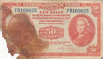 Netherlands East Indies: Wwii Muntbiljetten 50 Cents Note, P-110, Abnc