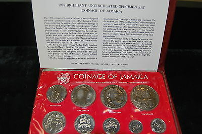 1978 Jamaica 9 Coin UNC Speciman SET IN ORIGINAL FOLDER