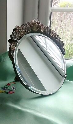 Vintage Round Barbola Mirror Freestanding Floral Shabby Chic Dressing Table