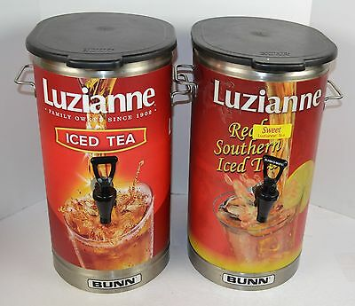 Lot of 2 BUNN TDO-4 4 Gallon Tea Dispensers w/ Luzianne Wrap