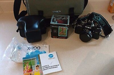 Minolta X-700 35mm SLR Camera w/50mm 1:1.7 Lens - w/ Extra Lens, Case & Manual