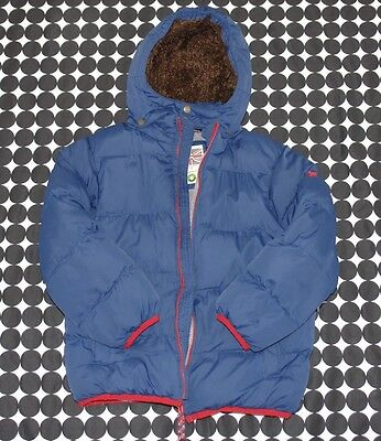 Boys Mini Boden Blue Padded Winter Jacket Shaggy-Lined Removable Hood Sz 7/8