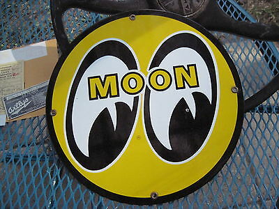 Used Moon Eyes Porcelain gas oil pump plate sign Gasser Coupe Hot Rat Rod