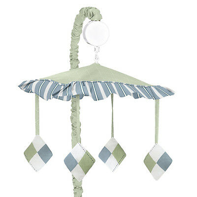Sweet Jojo Designs Musical Mobile for Blue Green Argyle Baby Crib Bedding Sets