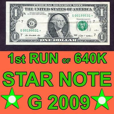 $1 STAR NOTE 1st RUN OF 640K  2009 CHICAGO LOW SERIAL NUMBER WITH DATE 1995