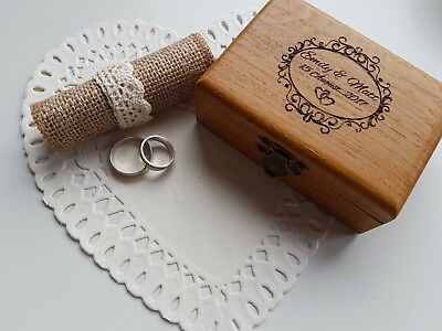 Personalised Rustic Oak Wedding Bearer Ring Holder Box .traditional,engraved