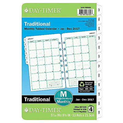 2017 Day Timer Traditional Monthly Tabbed Calendar Planner Pages 5 7/16 x 8.5 in