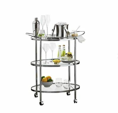 Drinks Trolley With Wheels Dinning Room Serving Tray 3 Tier Chrome Glass Wheeled