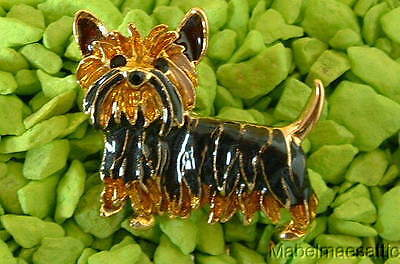 New Hand Enamel & Black Crystal Yorkshire Terrier Yorkie Puppy DOG PIN Brooch
