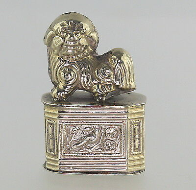 Antique Chinese Signed Silver Mini Foo Dog Buddhist Lion Pill Trinket Box