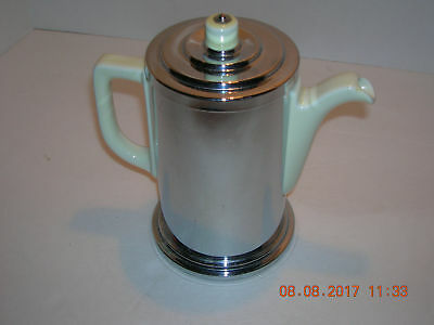 vintage Manning Bowman~Teapot w/Chrome Sleeve~Art Deco Tea Pot