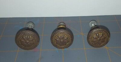"Antique 1"" Brass Ornate Knobs Drawer Pulls Handles Lot of 3"