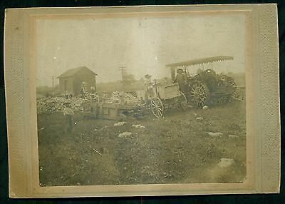 Early 1900's Steam Tractor & Wagon in Mining Operation Original Photograph