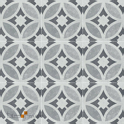 Encaustic Bronx Grey Matt Porcelain Floor & Wall Tile 200x200