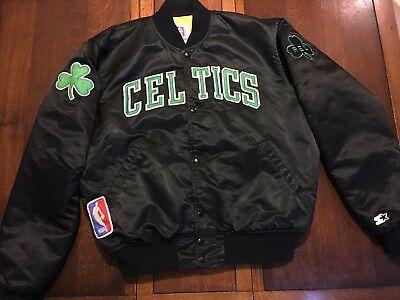 BOSTON CELTICS Black Starter Jacket Large 80's Rare NBA patches