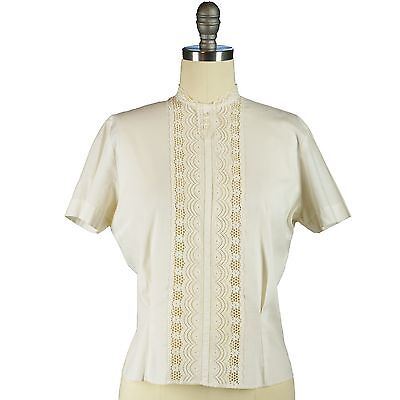 50s Lace Insert Shirt Eyelet Lace Blouse Peek-a-Boo Top