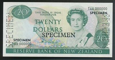 New Zealand: 1981 $20 Hardie SPECIMEN,  Type II, UNC, TAA 000000, VERY RARE