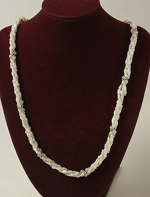 Hawaiian Shell Bead Jade and Gold Necklace 22 Inches Long Screw Close