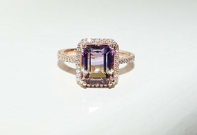 .14ct 14k Rose Gold Natural Emerald Cut Ametrine & Diamond Ring NEW Size O