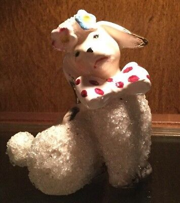 Vintage White Poodle Figurine With Glass Beads-Signed