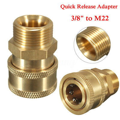 """3/8"""" Quick Release Adapter Connect to M22 Metric For Pressure Washer Gun Hose"""