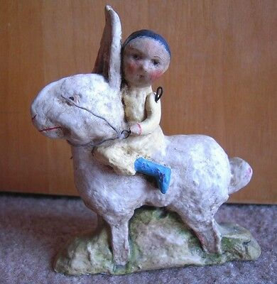 DEBBEE THIBAULT Child Riding  Bunny Rabbit Made USA