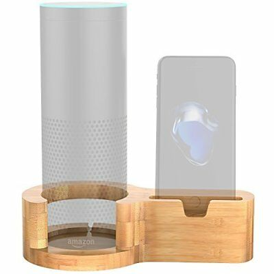 Aerb Speaker Stand for Echo, Bamboo Wood Charging Stand for Amazon Echo and
