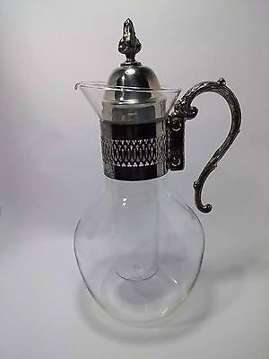 Vintage Silver Plate and Glass Water Wine Juice Pitcher Claret with ice Tube